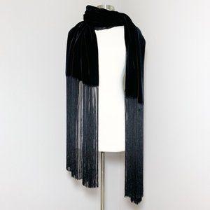 Giorgio Armani Wrap Silk Velvet Fringe Black Label